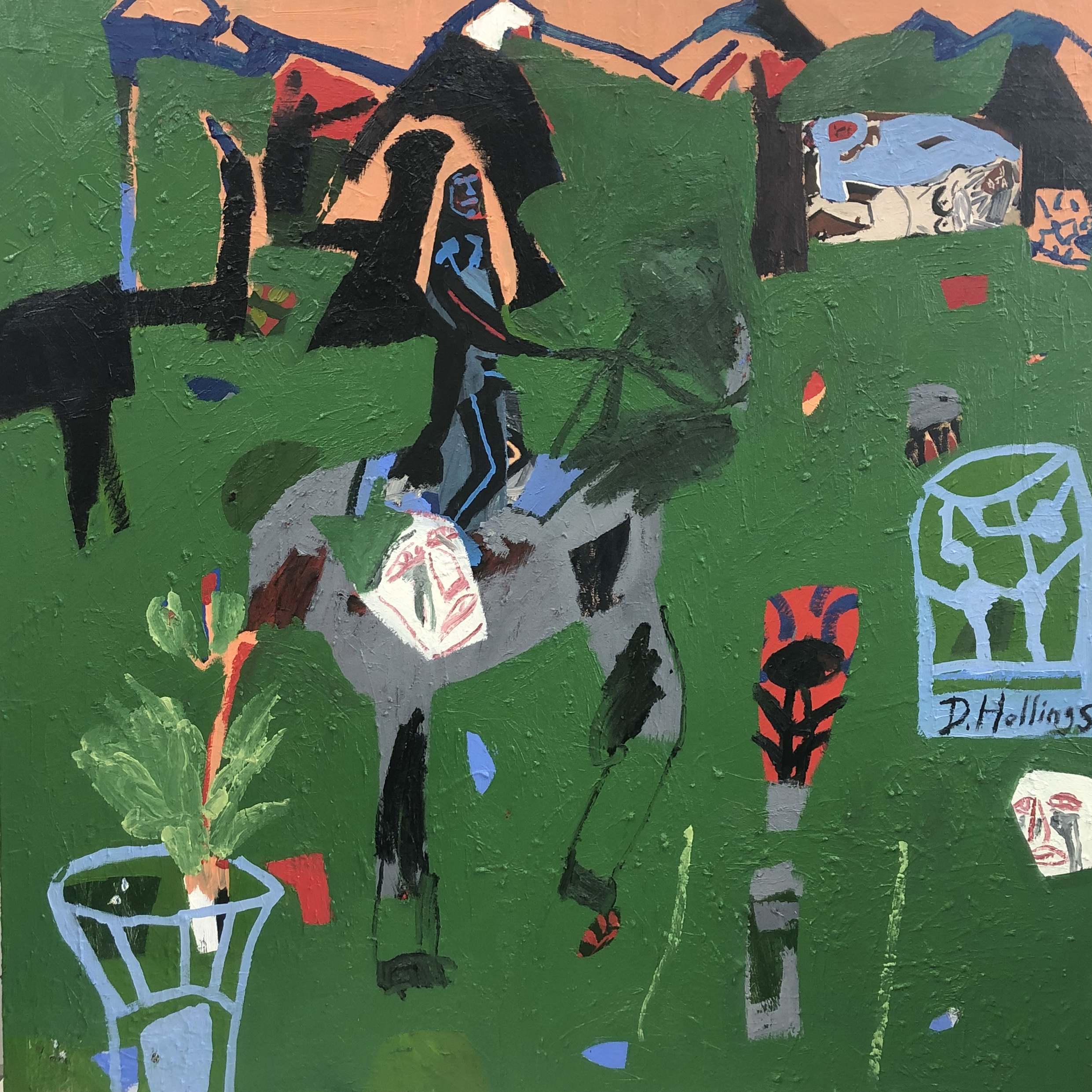 'It's ride or die' (A horse can't put back together a broken vase) 117 x 117cm - oil, posca and oil