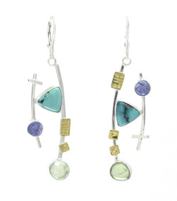 Turquoise and Tanzanite Earrings