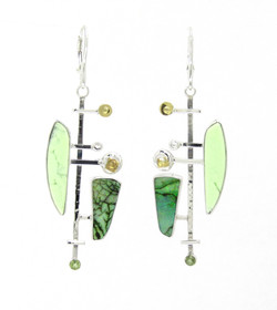 Lemon Chrysoprase and Opal Earrings