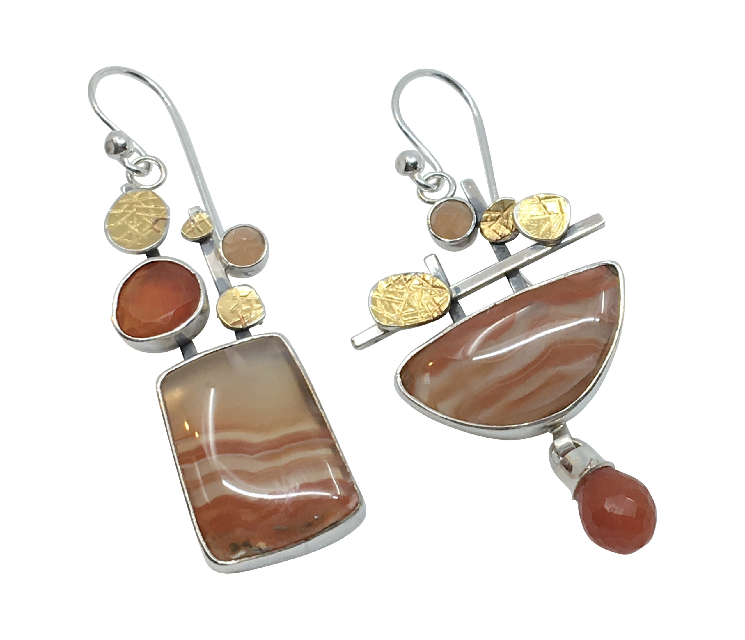 Banded Agate & Carnelian Earrings