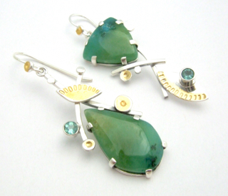 Gem Silica Chrysoprase Earrings
