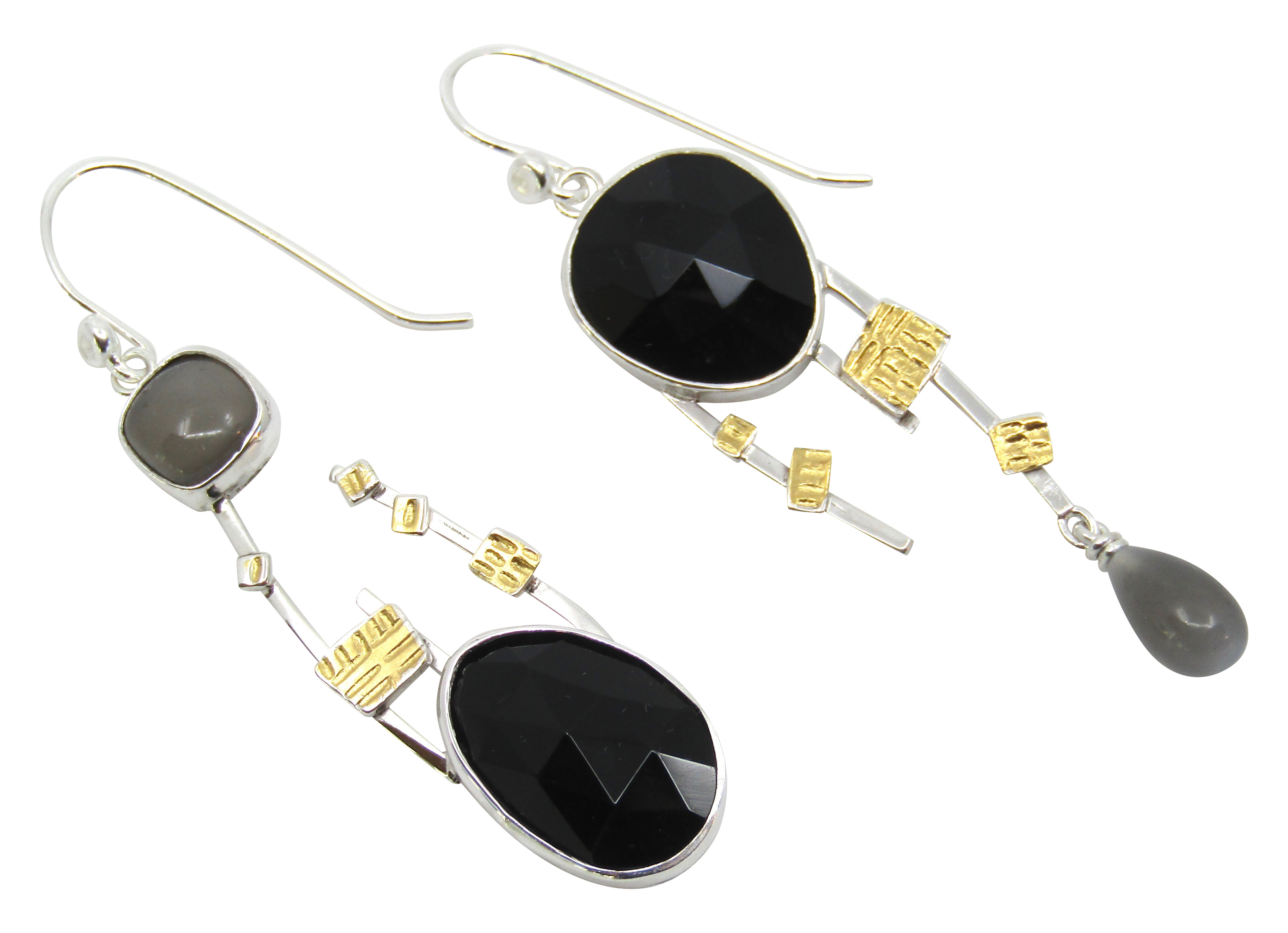 Black Spinel & Moonstone Earrings
