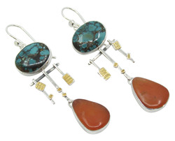 Turquoise & Carnelian Earrings