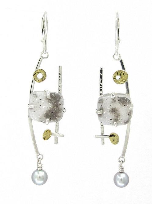 Brazilian Druzy and Pearl Earrings