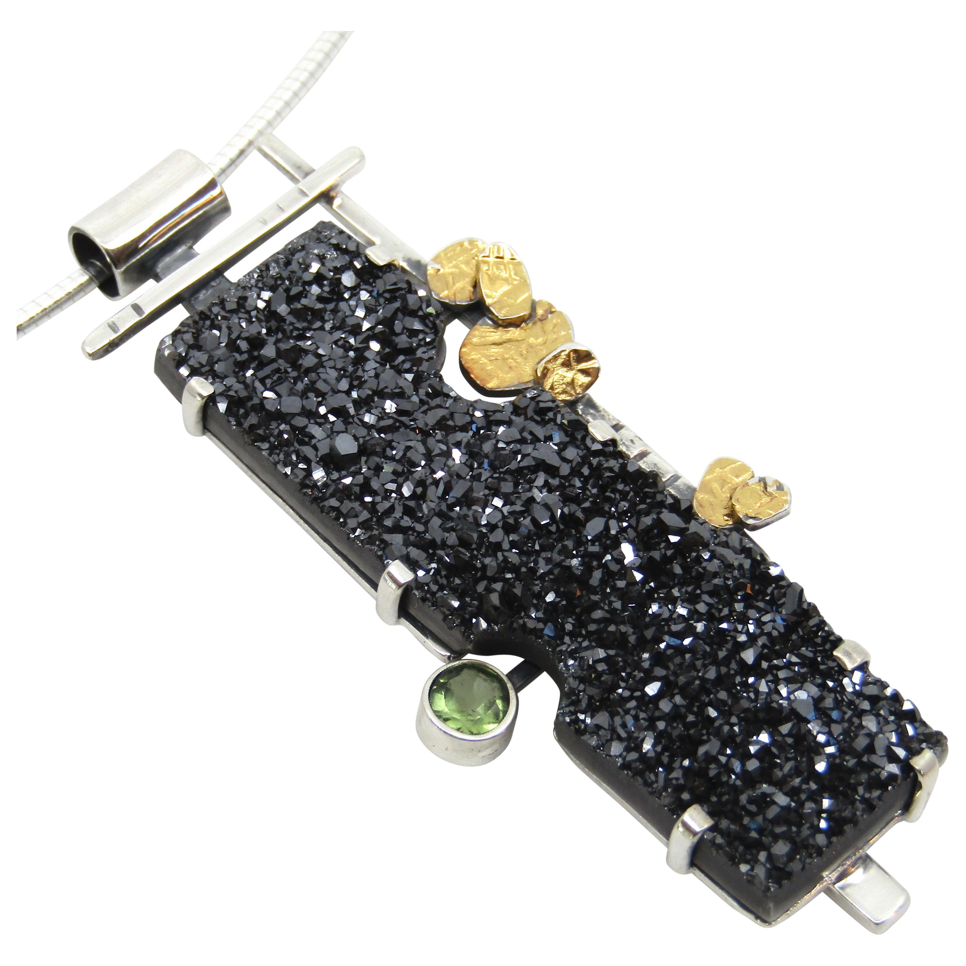 Midnight Druzy & Sapphire Pendant