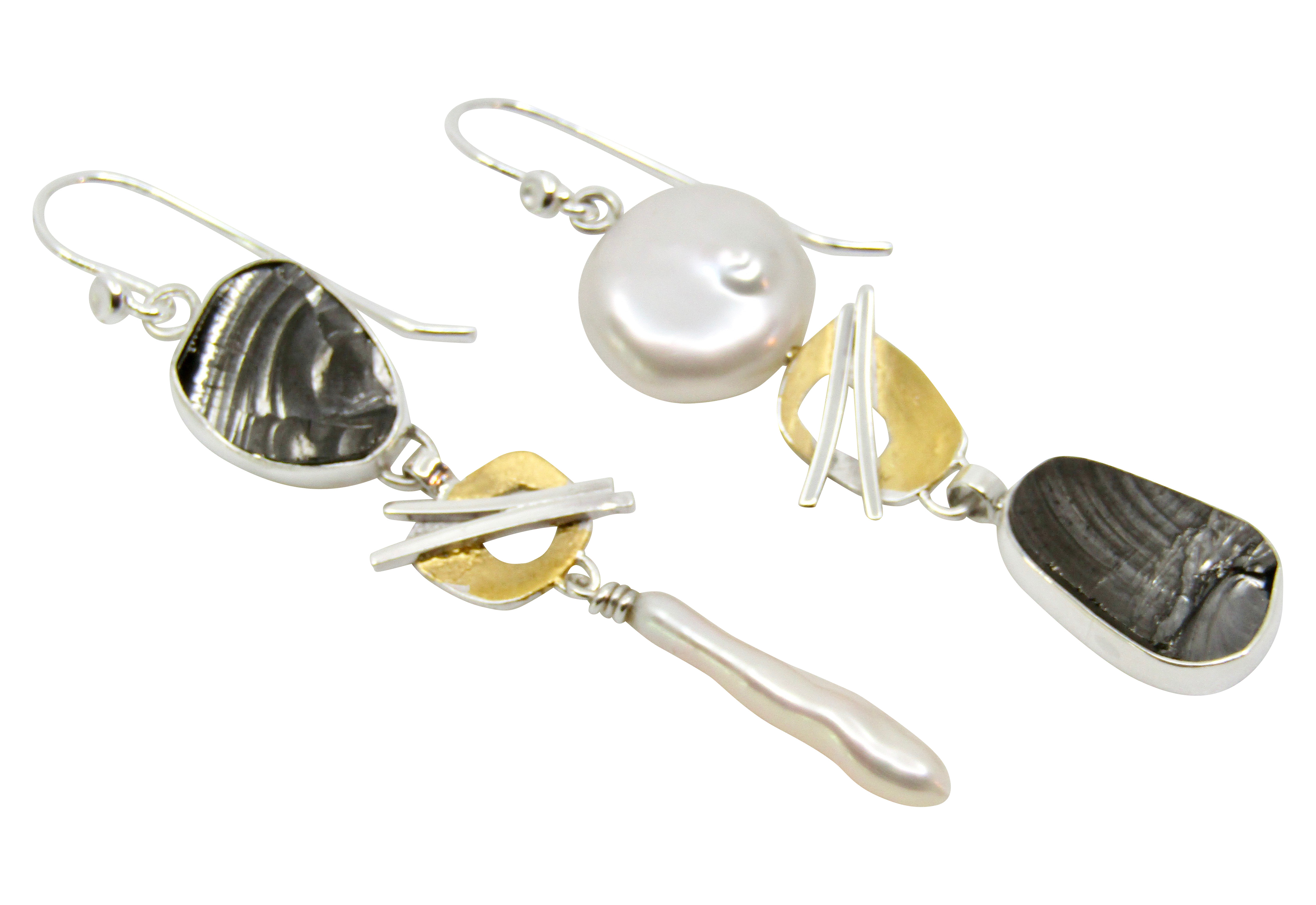 Black Touramline & Pearl Earrings