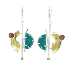 Dioptase Druzy Earrings