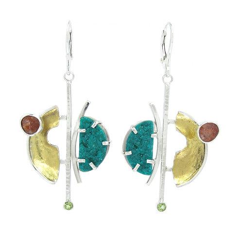 Dioptase Druzy Earrings
