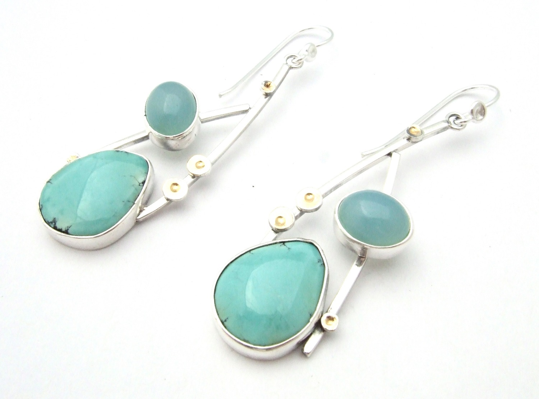 Tibetan Turquoise & Aqua Calcedony E