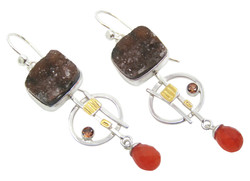 Chocolate Druzy & Carnelian Earrings