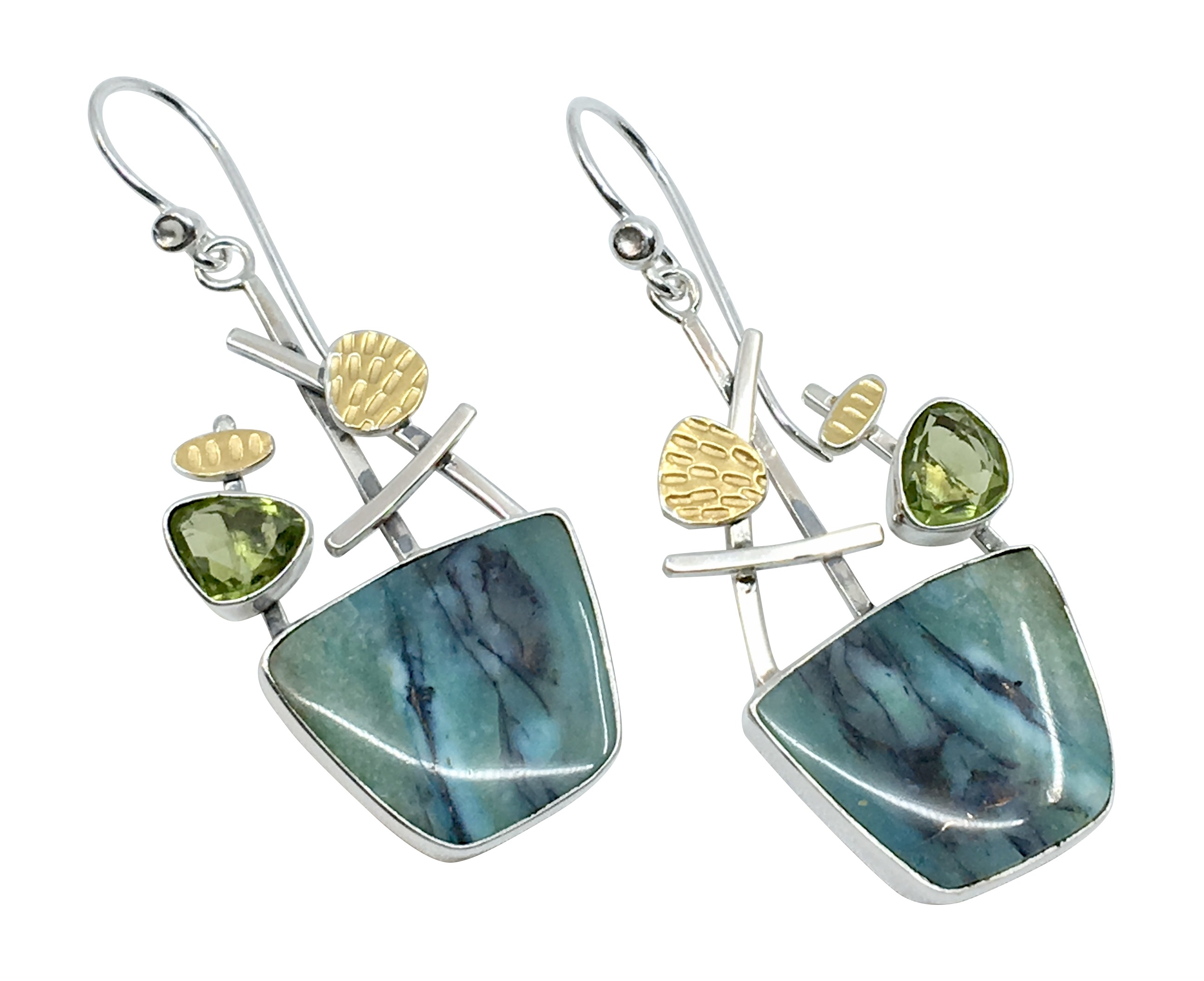 Opalwood / Peridot Earrings