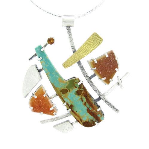 Turquoise and Druzy Pendant