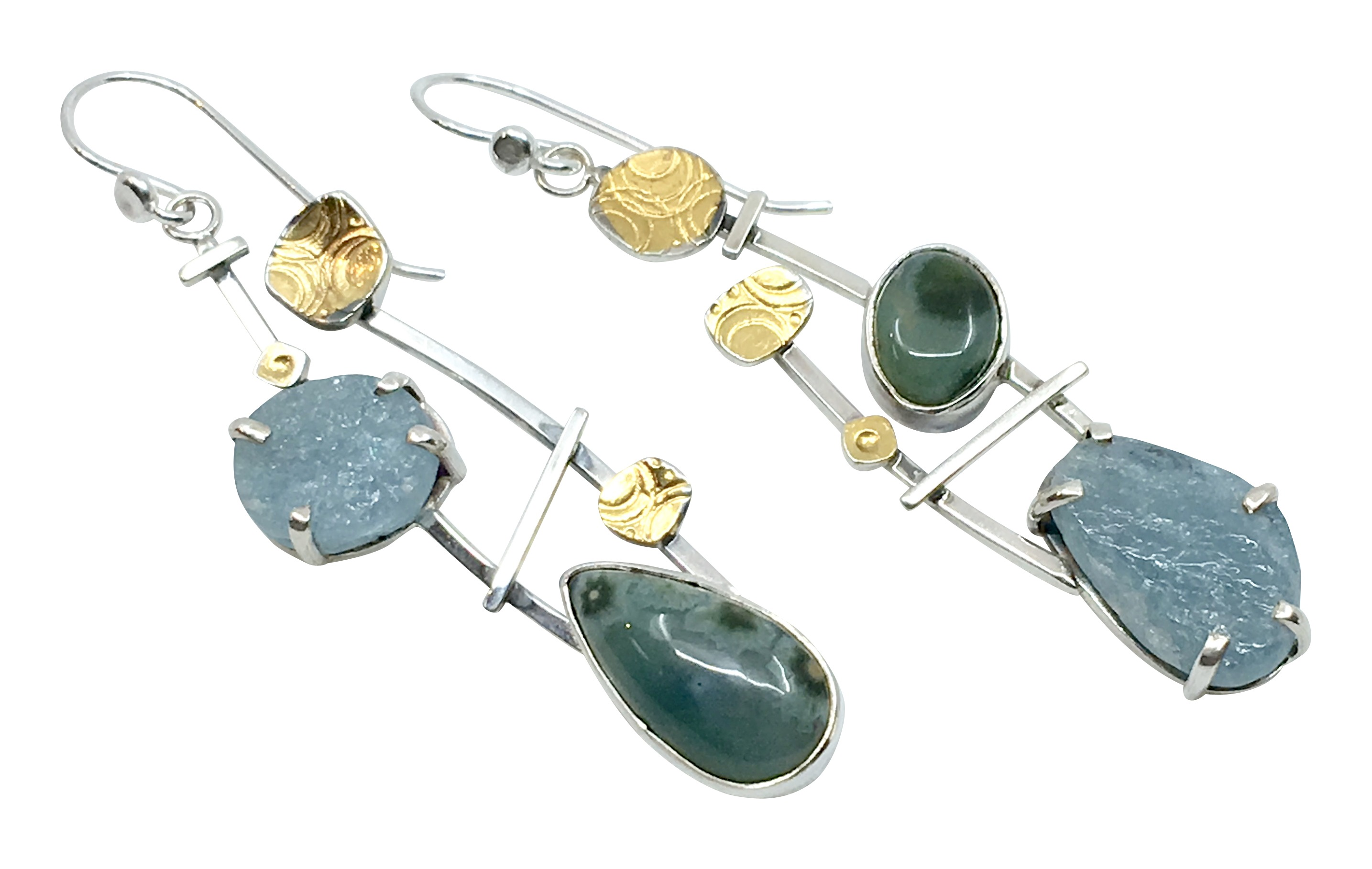 Aquamarine/ Ocean Jasper Earrings