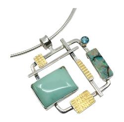 Turquoise & Opal Pendant