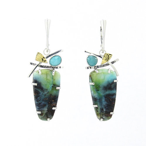 Opal wood Earrings