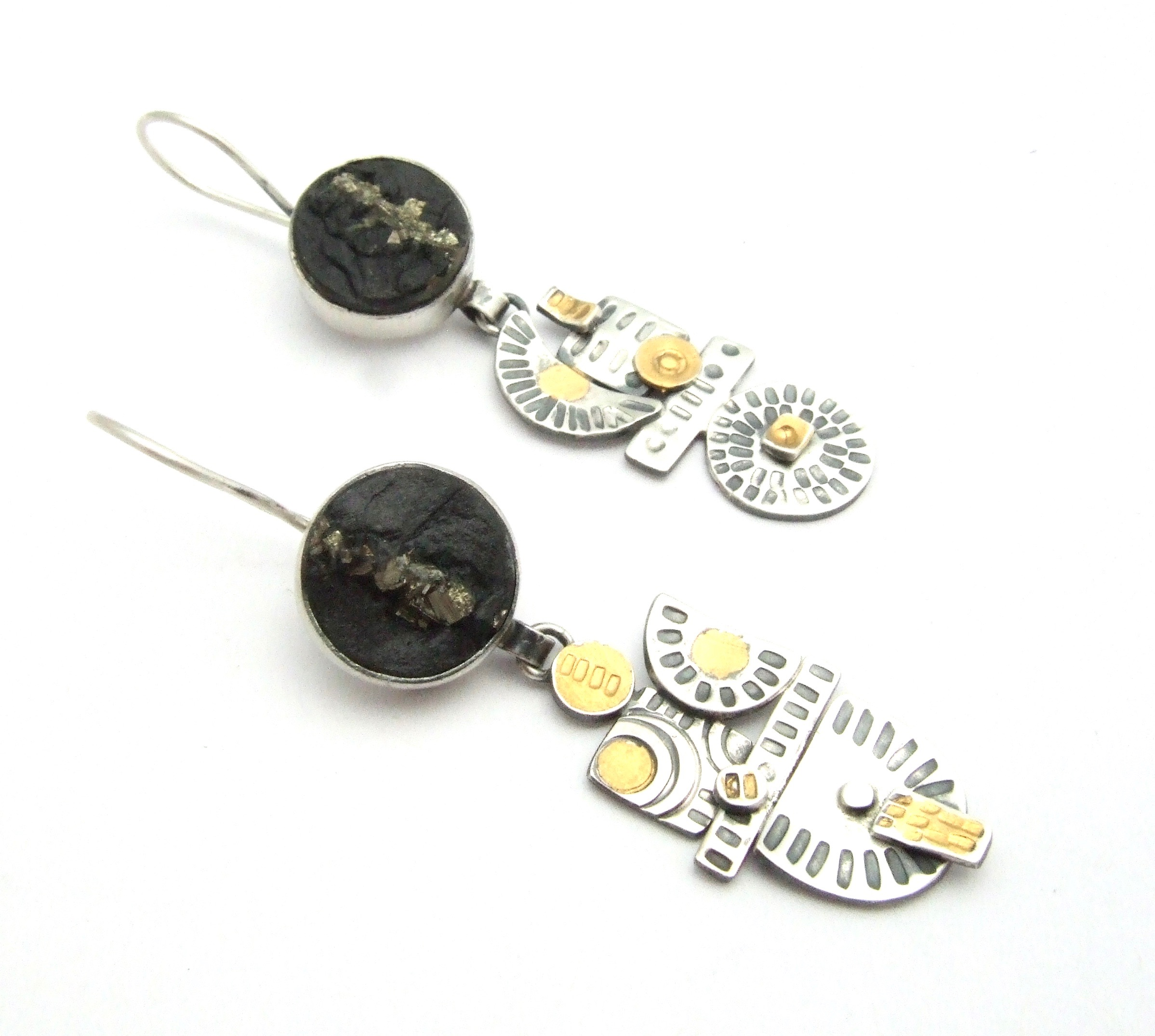 Slate & Pyrite Earrings