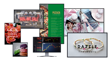 Various sizes and modes of digital signage display screens.