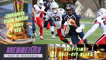 Brewmeister Bar & Meatery use digital signage to promote specials to viewers watching football game.