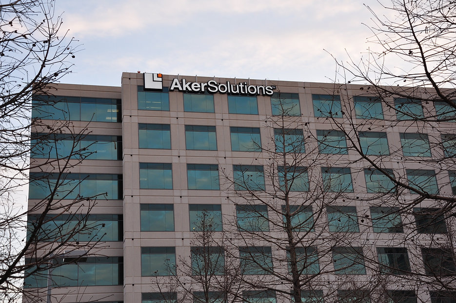 Aker Solutions building identity sign.