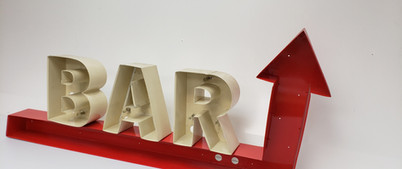 B-A-R Channel Letters Combined with Directional Arrow