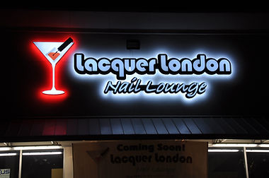 Lacquer London Nail Lounge channel letter wall and logo signs are front lit and back lit with LED lights.