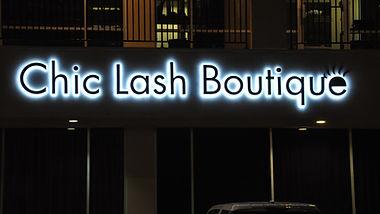Chic Lash Boutique back lit channel letter wall sign.