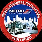 METRO Small Business Enterprise Certified badge.