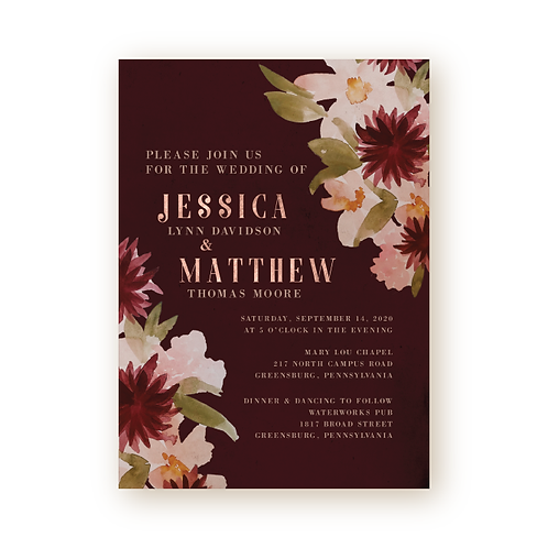 Vintage Florals Wedding Invitation