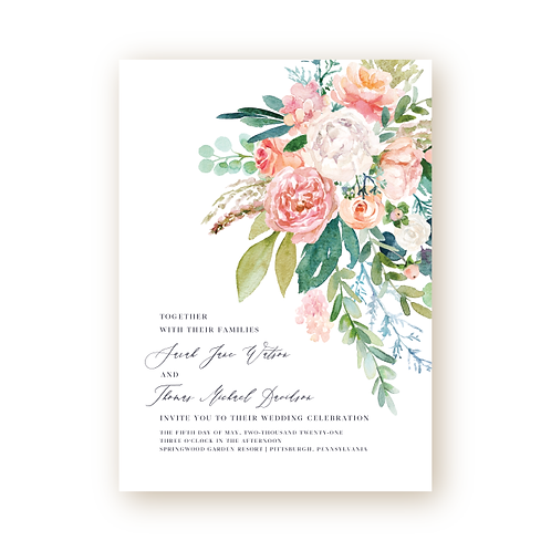 Romantic Spring Garden Wedding Invitation