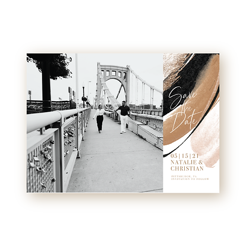 Elegant Glitter Save the Date Flat Card with Photo