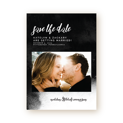 Watercolor Ombré Save the Date with Photo