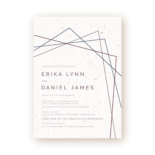 Textured Geometric Lines Wedding Invitation