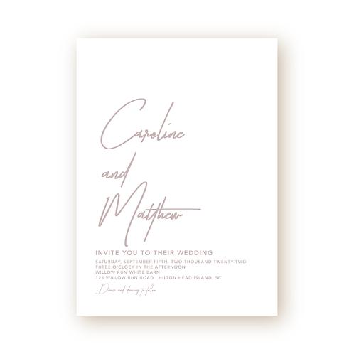 Minimalist Modern Script Wedding Invitation