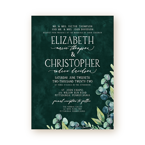 Modern Greenery Wedding Invitation