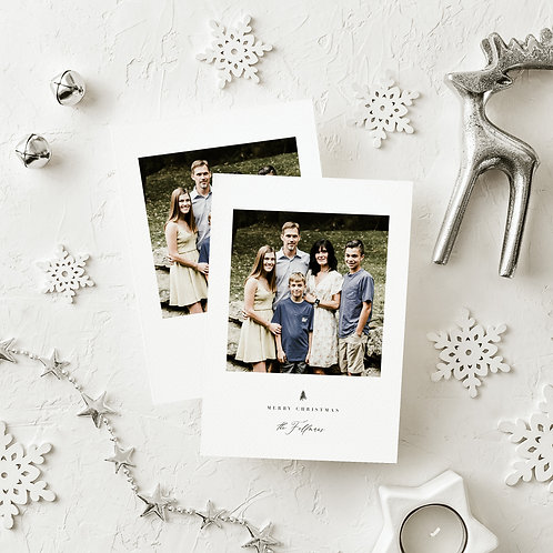 Minimalist Merry Christmas Holiday Flat Card with Photo