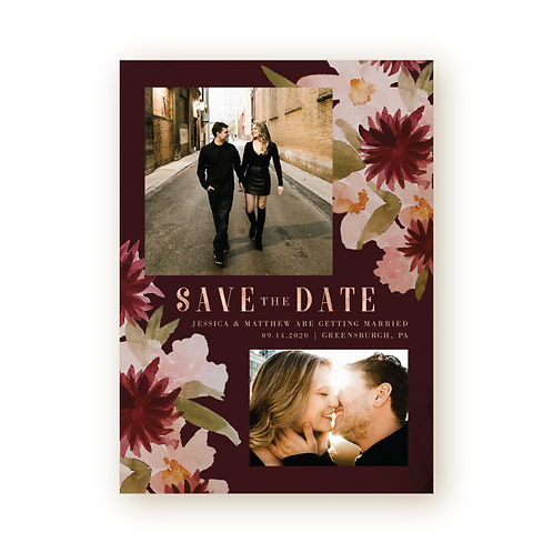 Vintage Florals Save the Date Card with Photo