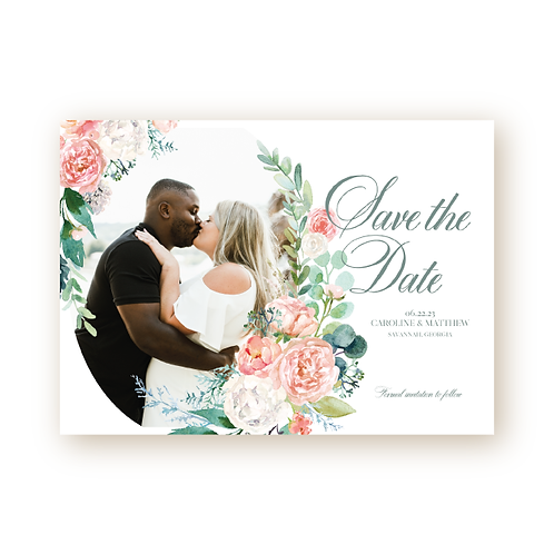 Elegant Spring Florals Save the Date Flat Card with Photo