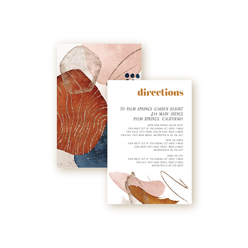 Abstract Desert Sunset Directions Insert Card
