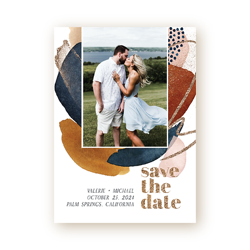 Abstract Desert Sunset Vertical Save the Date Flat Card with Photo