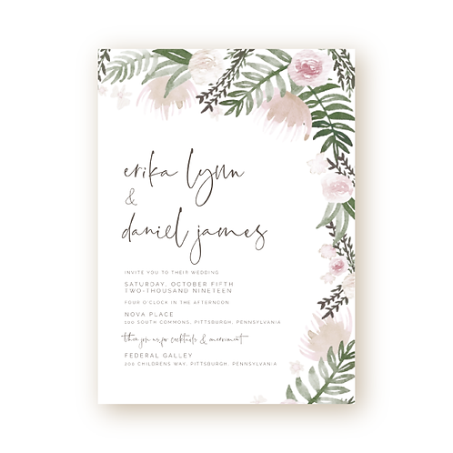 Muted Watercolor Florals Wedding Invitation