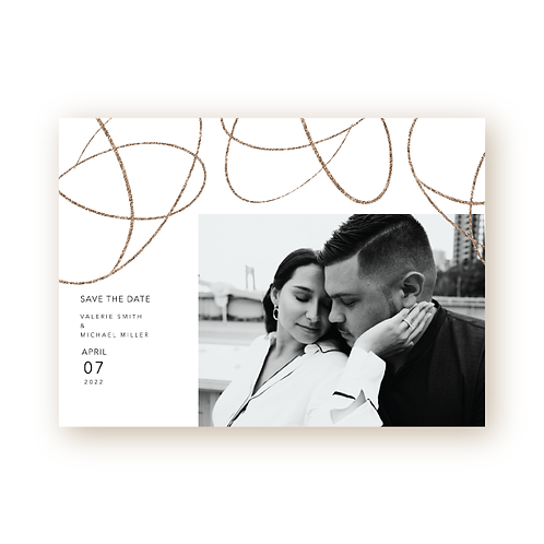 Simple Swirls Save the Date Flat Card with Photo