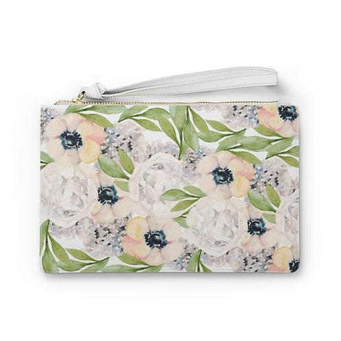 Garden Watercolor Floral Clutch Bag