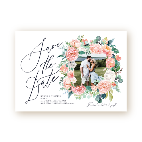 Romantic Spring Florals Save the Date Flat Card with Photo