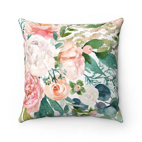 Spring Florals Faux Suede Square Pillow