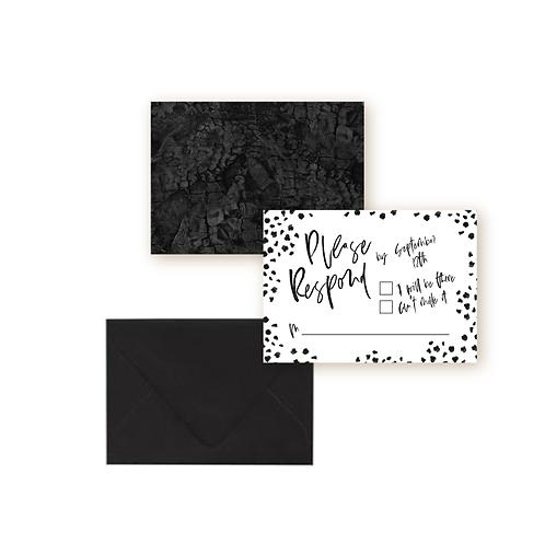 Minimalist Chic Confetti Wedding Response Card