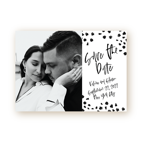 Minimalist Chic Confetti Save the Date Flat Card with Photo