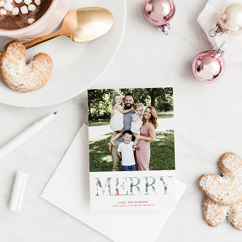 Modern Merry Watercolor Lettering Flat Card with Photo
