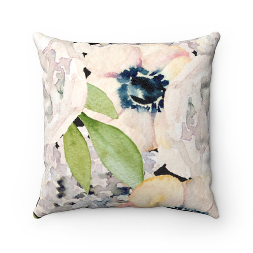 Garden Florals Faux Suede Square Pillow