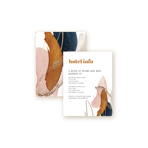 Abstract Desert Sunset Hotel Info Insert Card