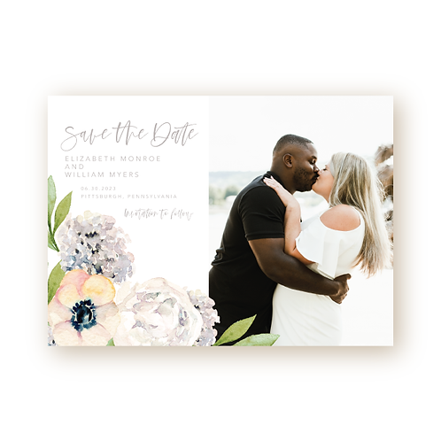 Classic Garden Florals Save the Date Flat Card with Photo